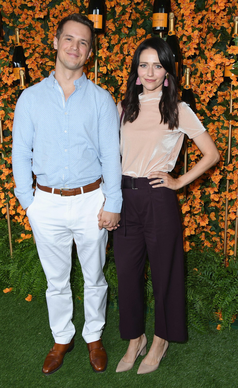 Freddie Stroma and Johanna Braddy attending the 9th annual Veuve Clicquot Polo Classic Los Angeles