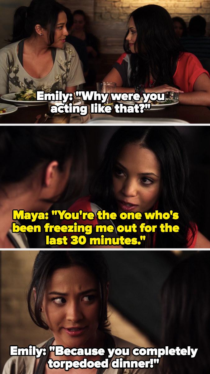 Emily and Maya argue at dinner
