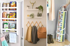 A hanging fridge organizing; an accordion rack; a wrapping paper holder