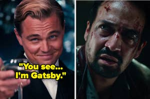 Leo DiCaprio as Gatsby in The Great Gatsby and Lin-Manuel Miranda as Lee in His Dark Materials