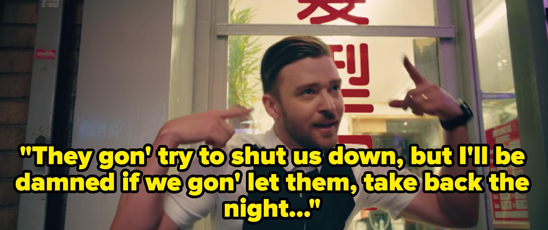 Screenshot from Justin Timberlake's Take Back The Night music video