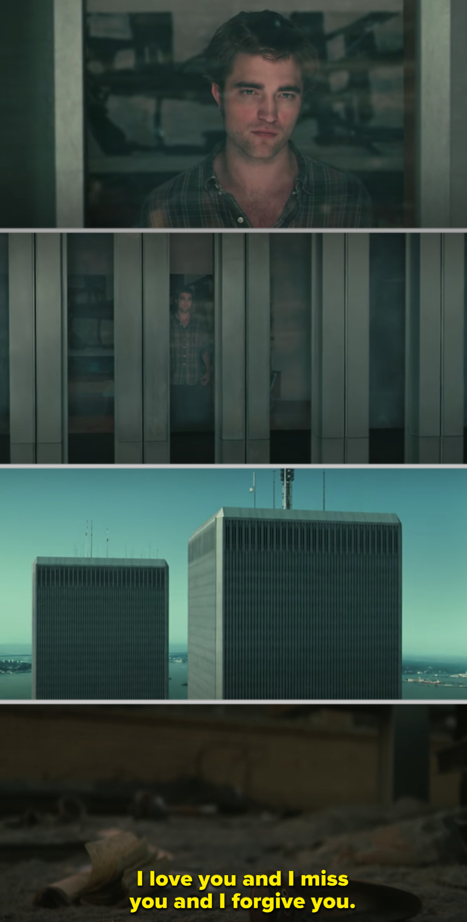Robert Pattinson's character looking out the window of one of the Twin Towers