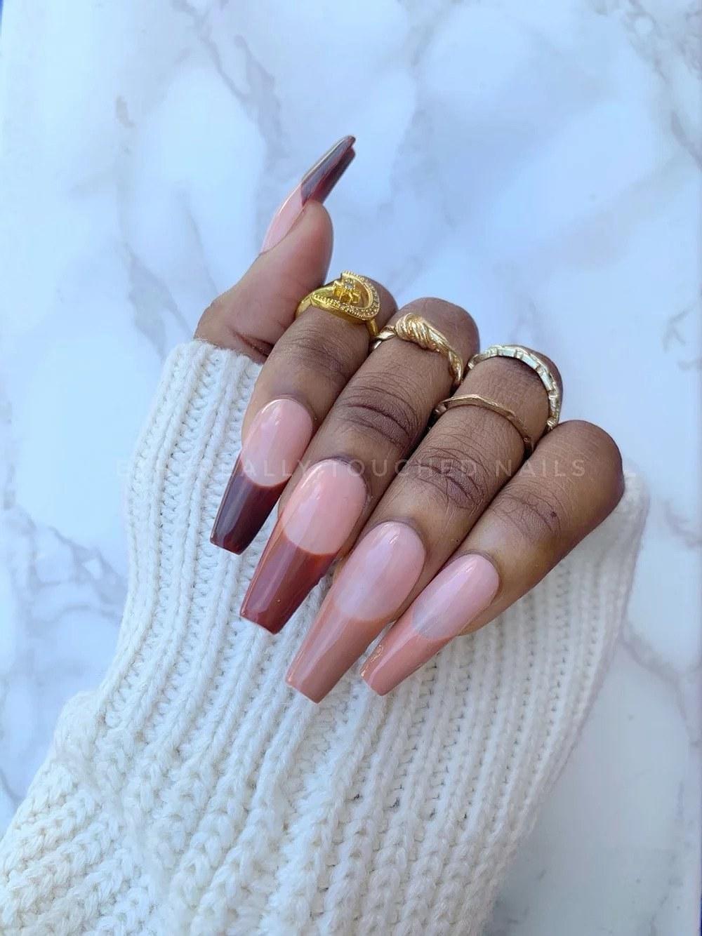 Model wearing press on nails