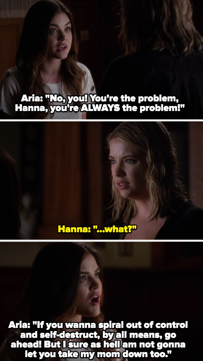 Aria blames Hanna for her mom's boyfriend hitting on her