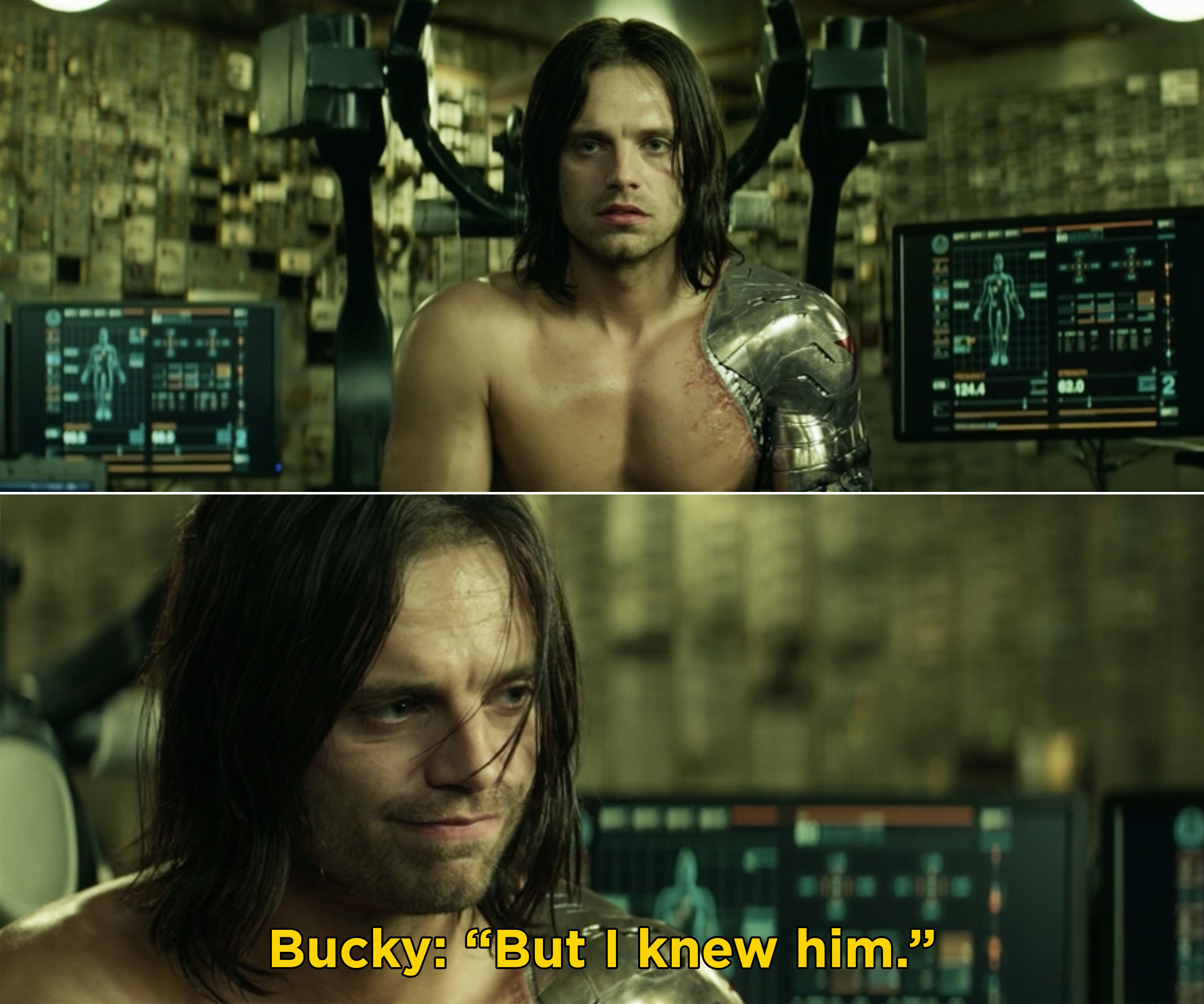 """Bucky staring and saying, """"But I knew him"""""""