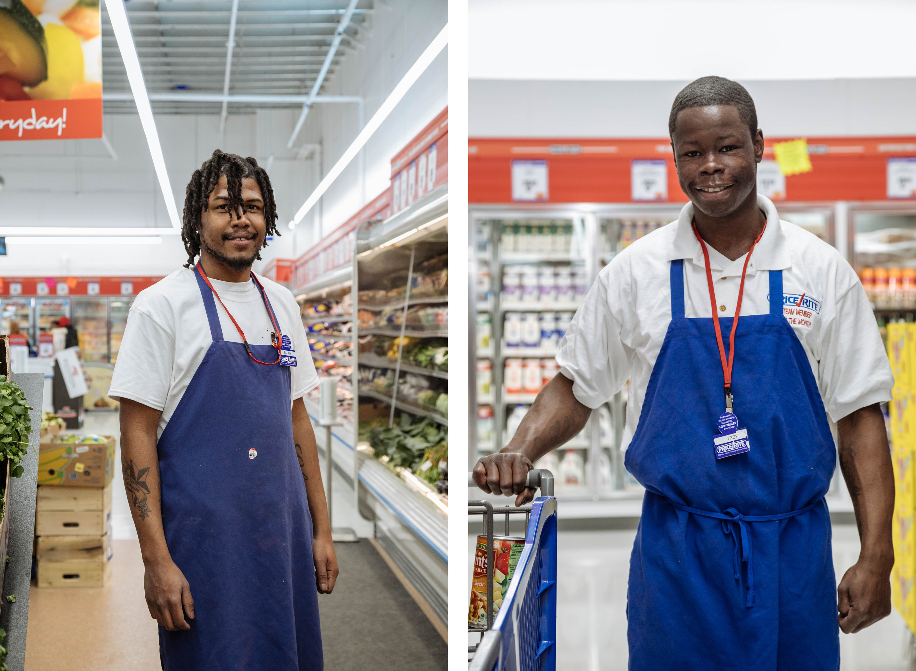 A split image of two men in Price Rite aprons in the grocery store
