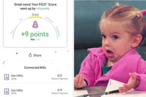 screengrab showing a credit score increasing by 9 points; a girl looking confused