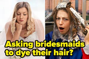 An angry bride next to a woman dying her hair