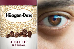 On the left, a pint of Coffee Häagen-Dazs ice cream, and on the right, a closeup of an eye