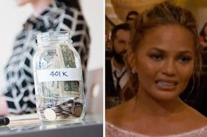 401(k) jar and Chrissy Teigen cringing