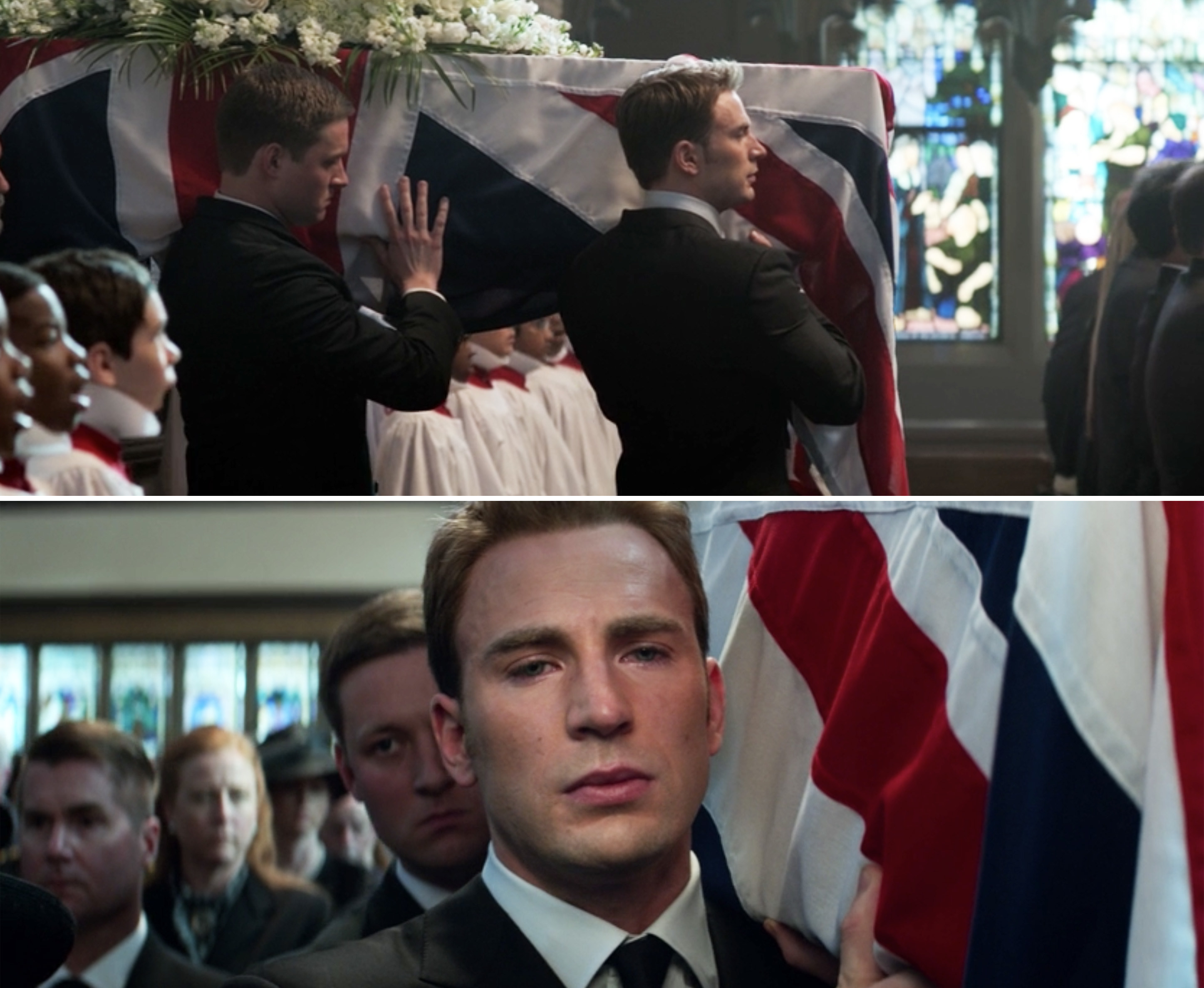 Steve crying while carrying Peggy's casket