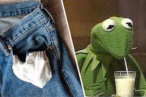 A turned-out jean pocket and Kermit drinking milk