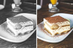 A black-and-white photo of tiramisu and an in color photo of it
