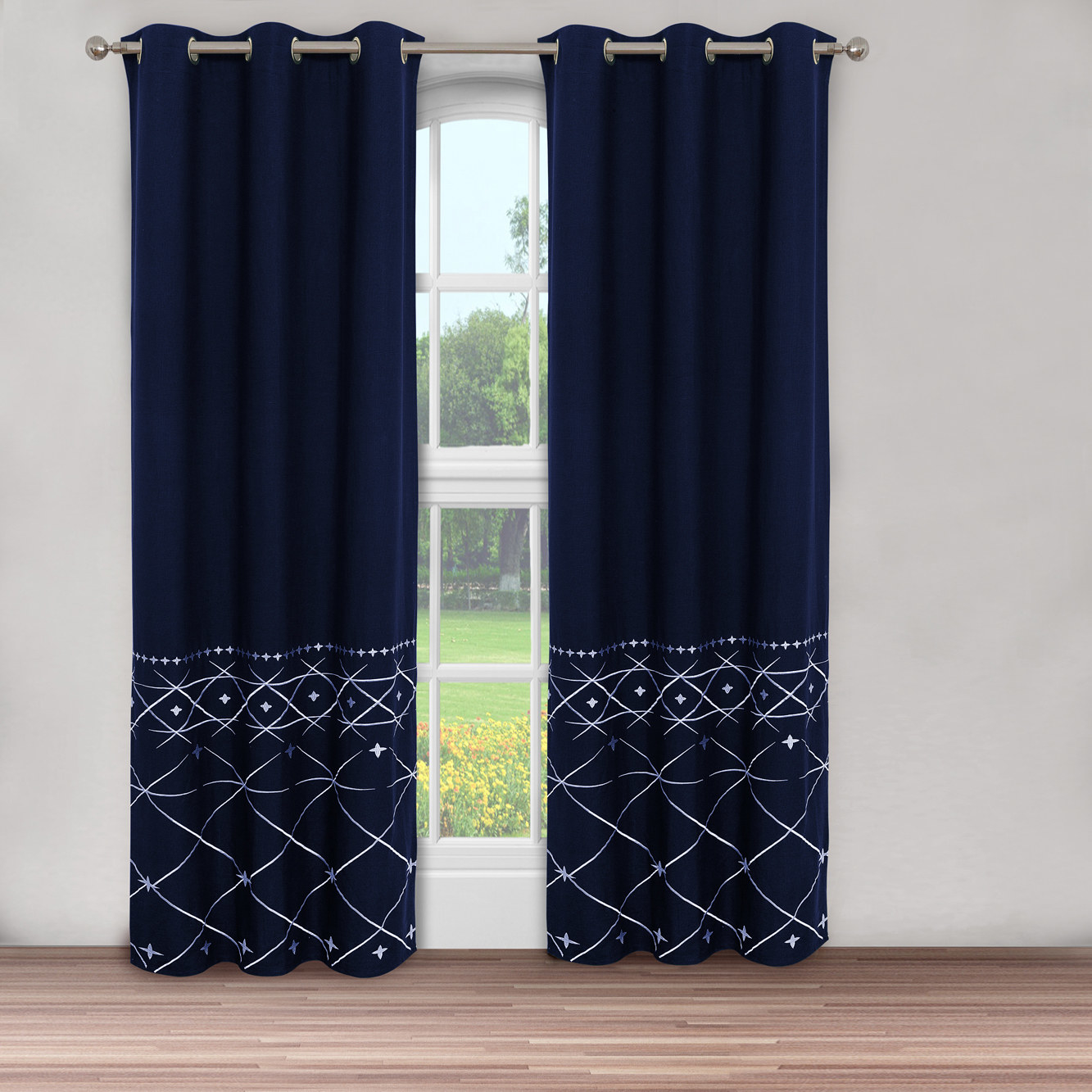 Navy curtains with a white tribal pattern