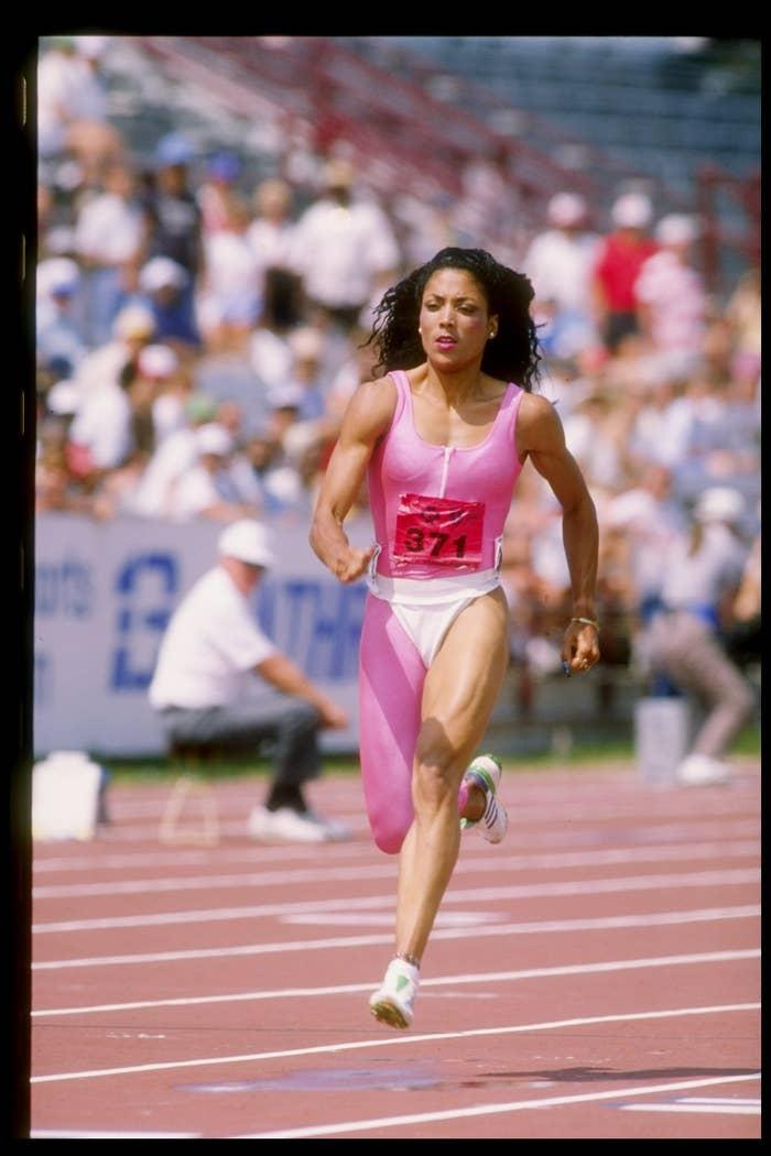 Florence Griffith-Joyner runs down the track.