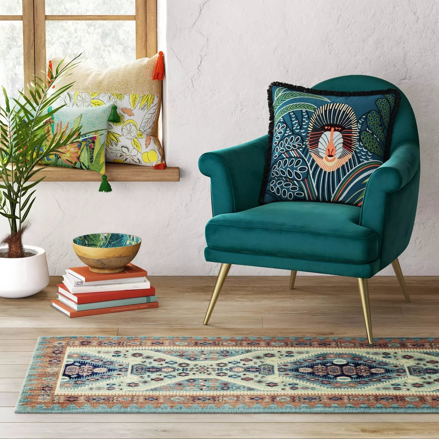 The colorful runner in a living room