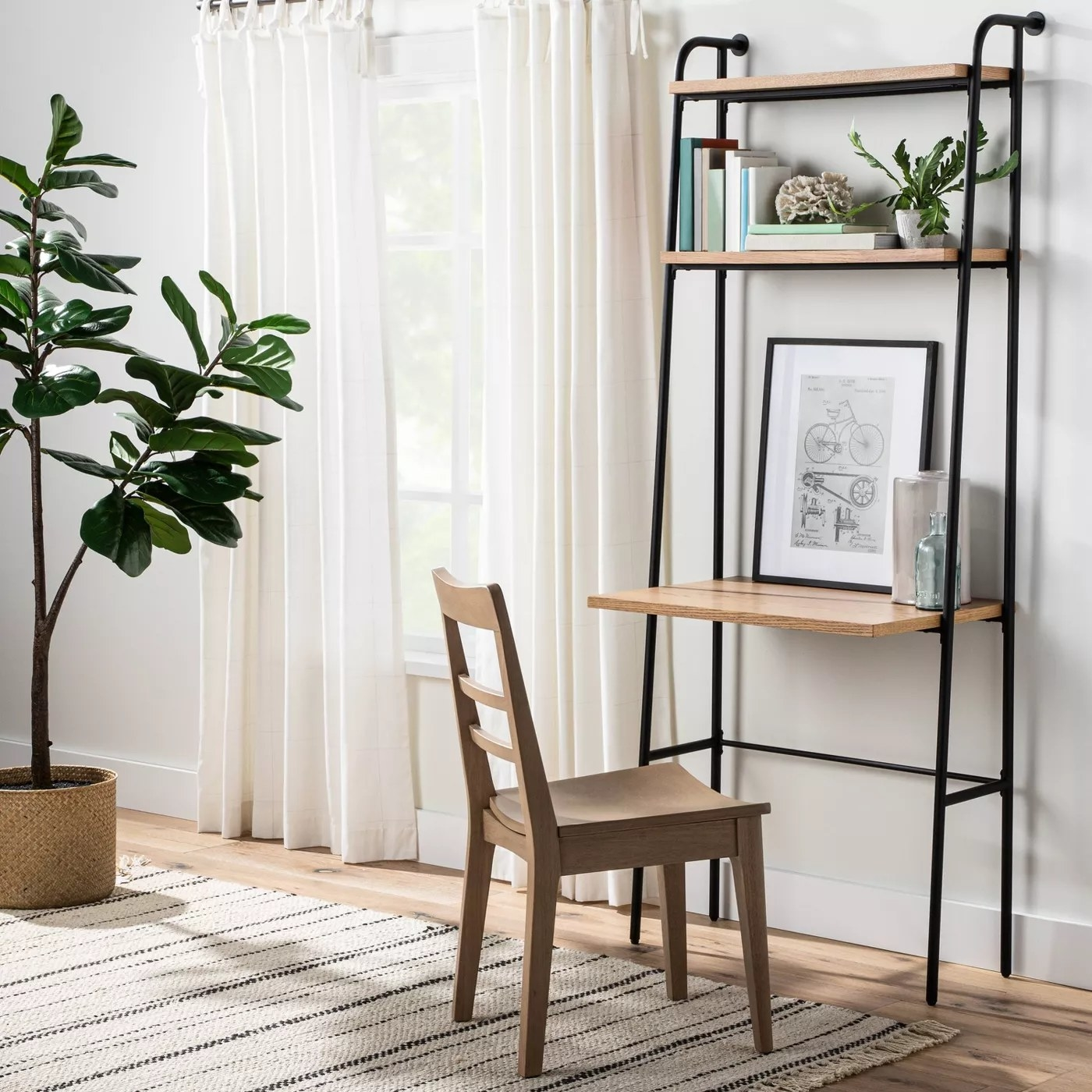 The shelf with a built-in desk anchored to the wall
