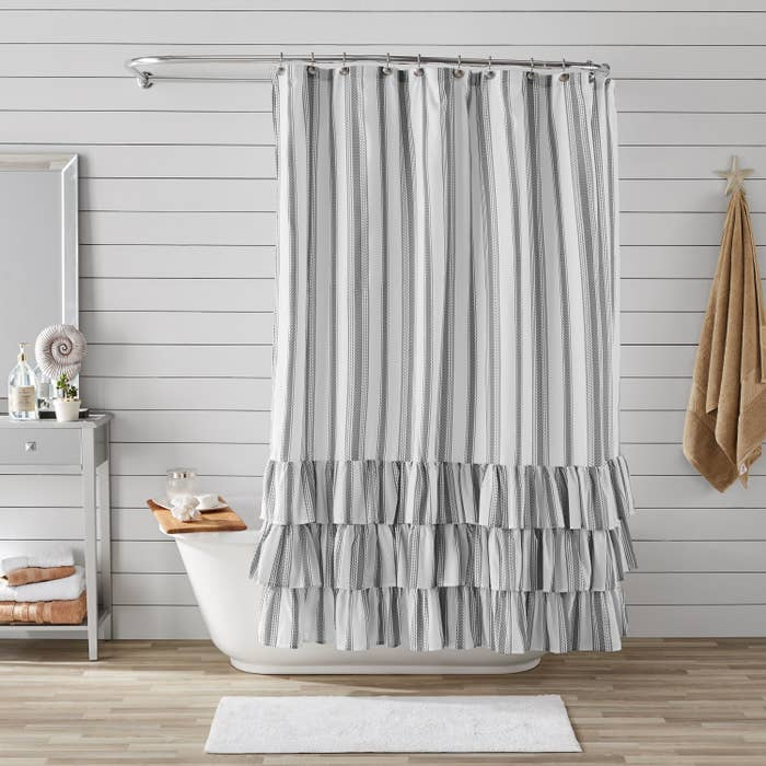 The striped, ruffled shower curtain