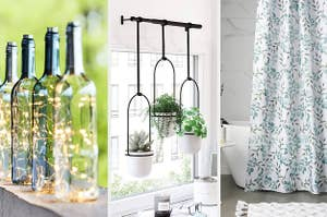 Bottle lanterns, hanging plant rods, and a cute shower curtain