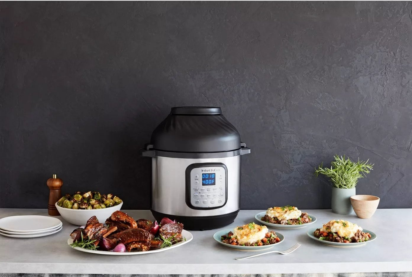 The Instant Pot and air fryer shown next to an entire meal
