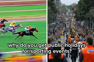 Horses racing at the Melbourne Cup and a parade being held for the AFL Grand Final with the caption