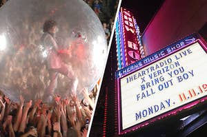 "Flaming Lips ""space bubble"" concert and a concert marquee sign"