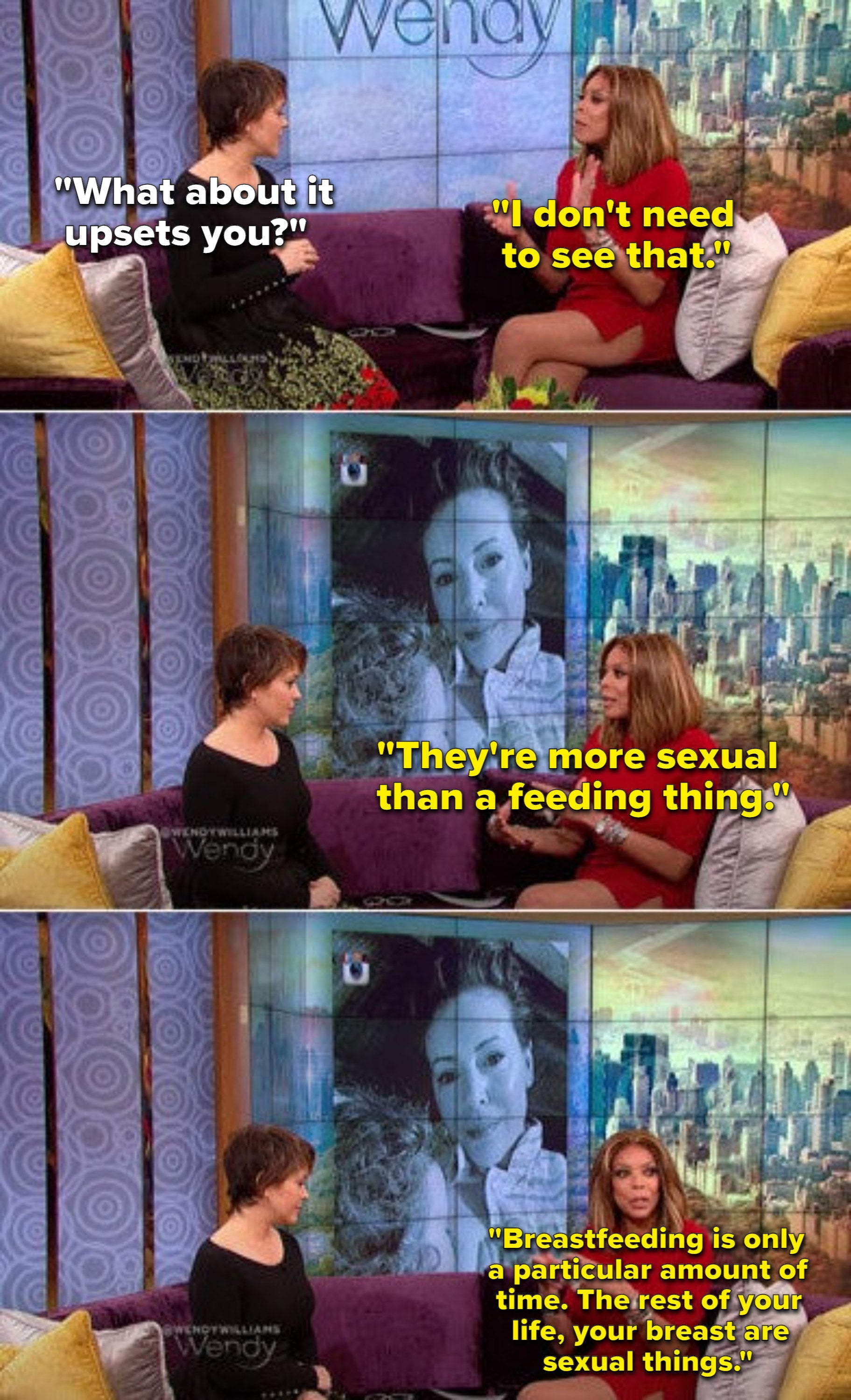 Wendy Williams telling Alyssa Milano that breastfeeding is a sexual thing and that she doesn't need to see it