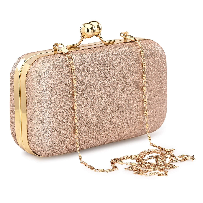 A glittery peach and gold clutch