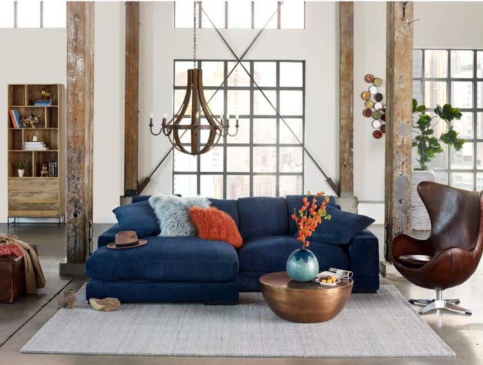 The wide reversible sofa and chaise in blue