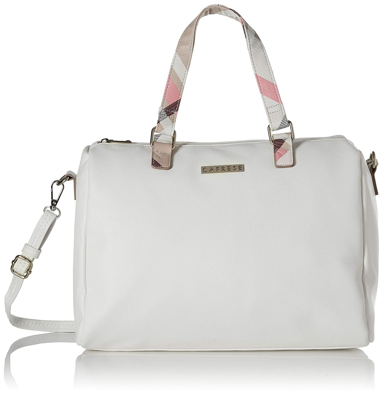 A white satchel-style handbag with patterned pink handles