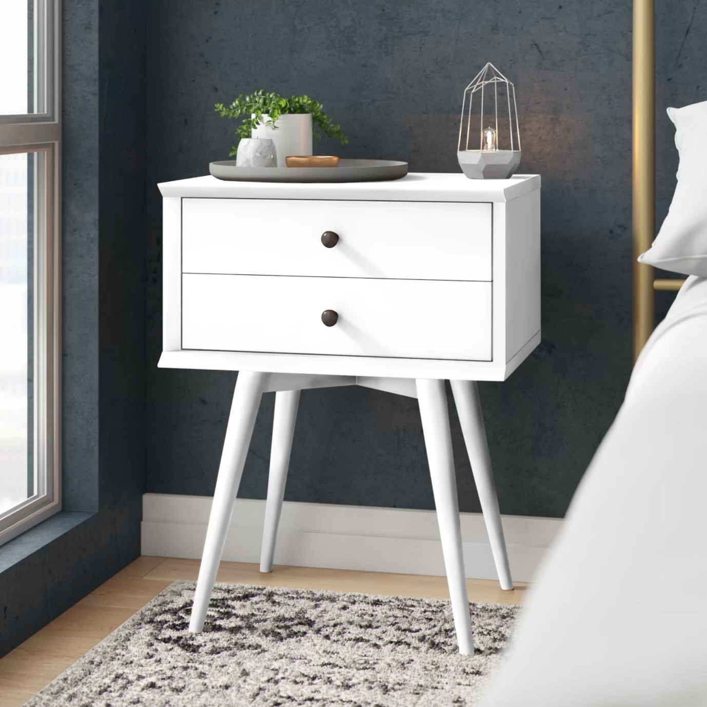 The two drawer nightstand in white