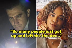 """Jake Gyllenhaal in """"Prisoners"""" side by side with Tessa Thompson in """"Sorry To Bother You"""" with text reading, """"So many people just got up and left the theater"""""""