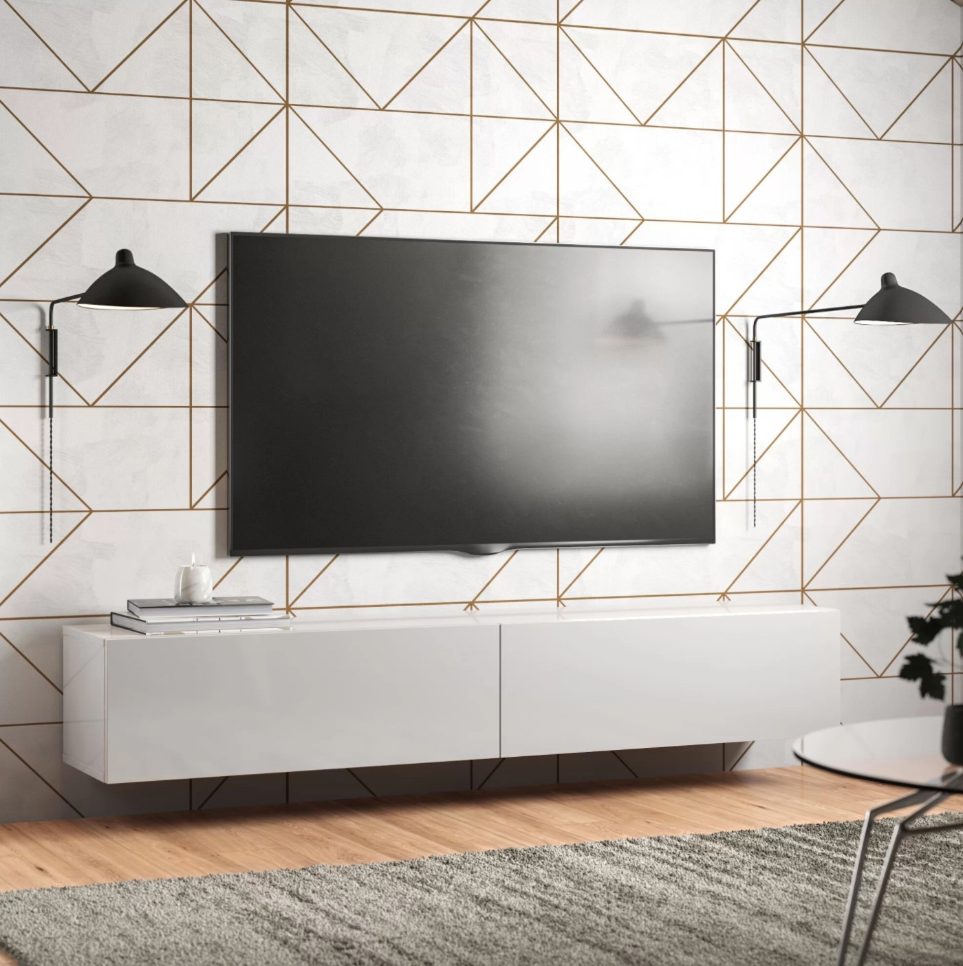 The TV stand in white