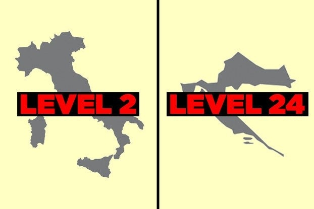 """Map of Italy with the words """"Level 2"""" and map of Croatia with the words """"Level 24"""""""
