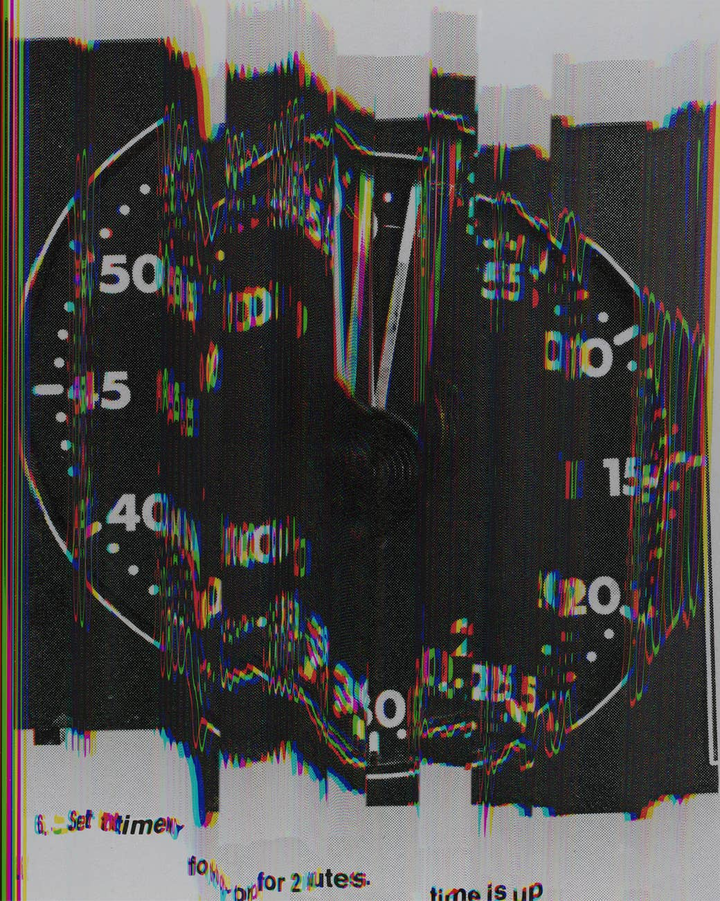 A distorted photo of a speedometer or clock