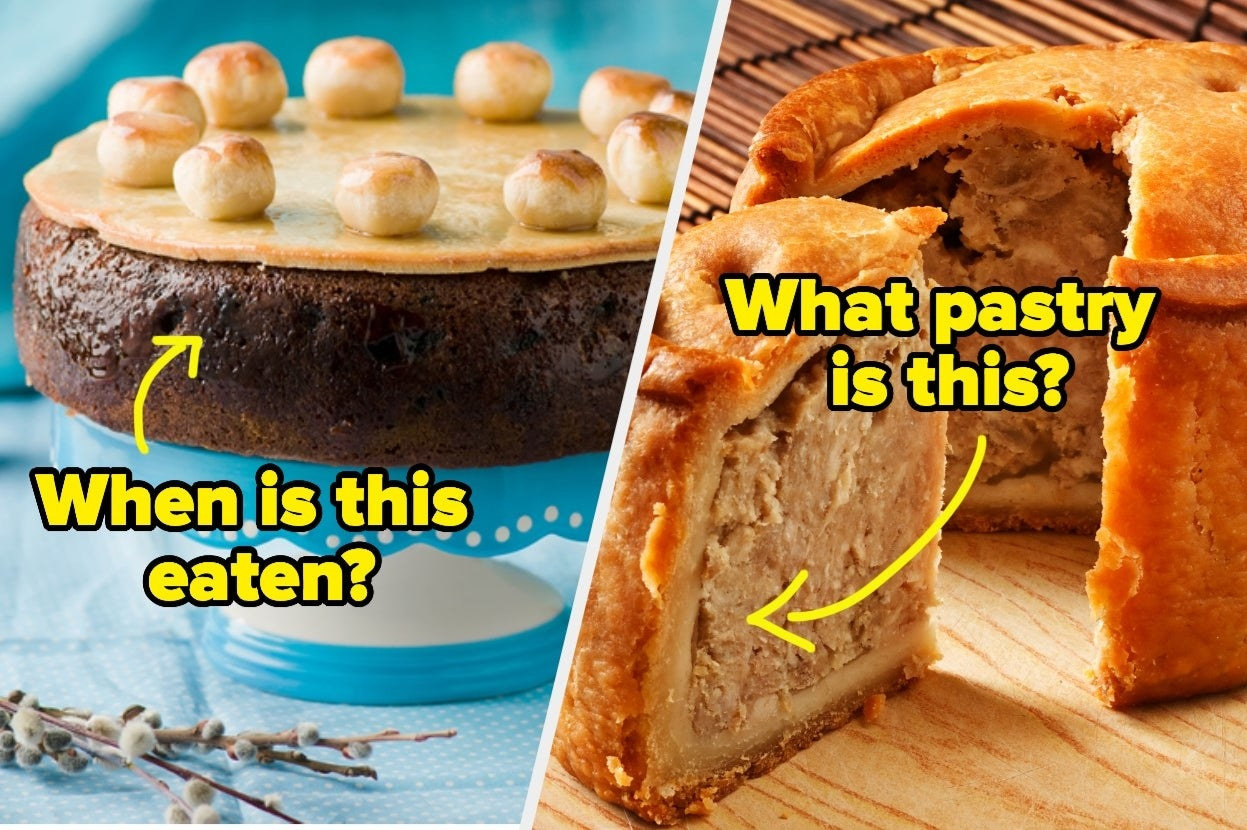 """Simnel cake with the words """"when is this eaten?"""" and pork pie with the words """"What pastry is this?"""""""