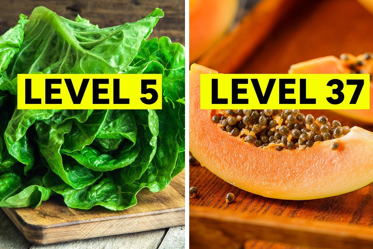 """Head of lettuce with the words """"level 5"""" and papaya with the words """"level 37"""""""
