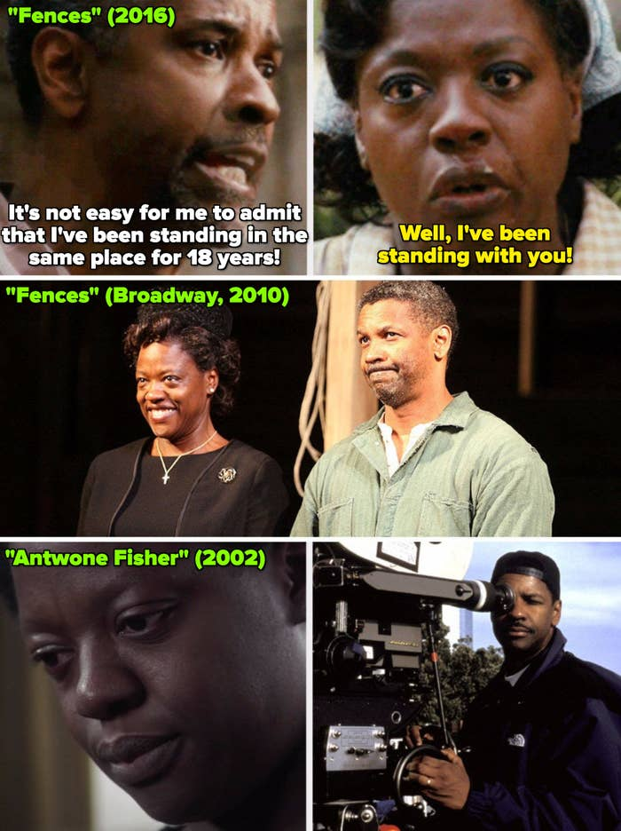 """Viola and Denzel in """"Fences"""" (movie); Viola and Denzel in """"Fences"""" on Broadway, and Denzel directing Viola in """"Antwone Fisher"""" (2002)"""