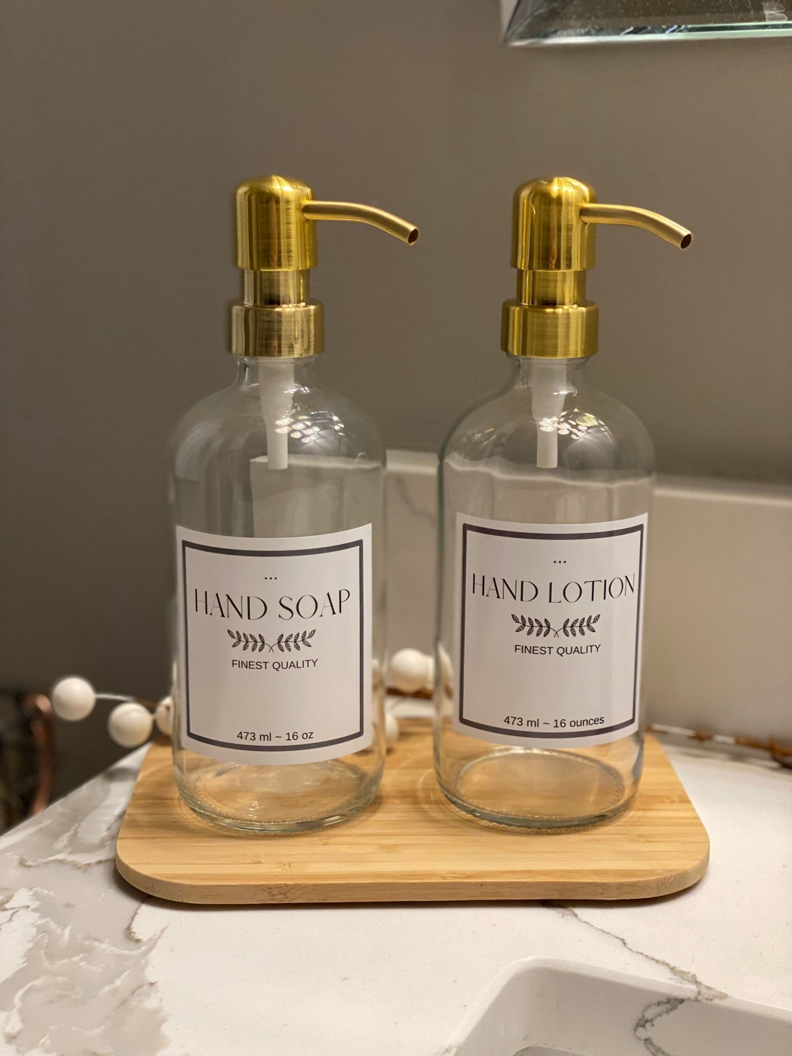 two bottles with labels