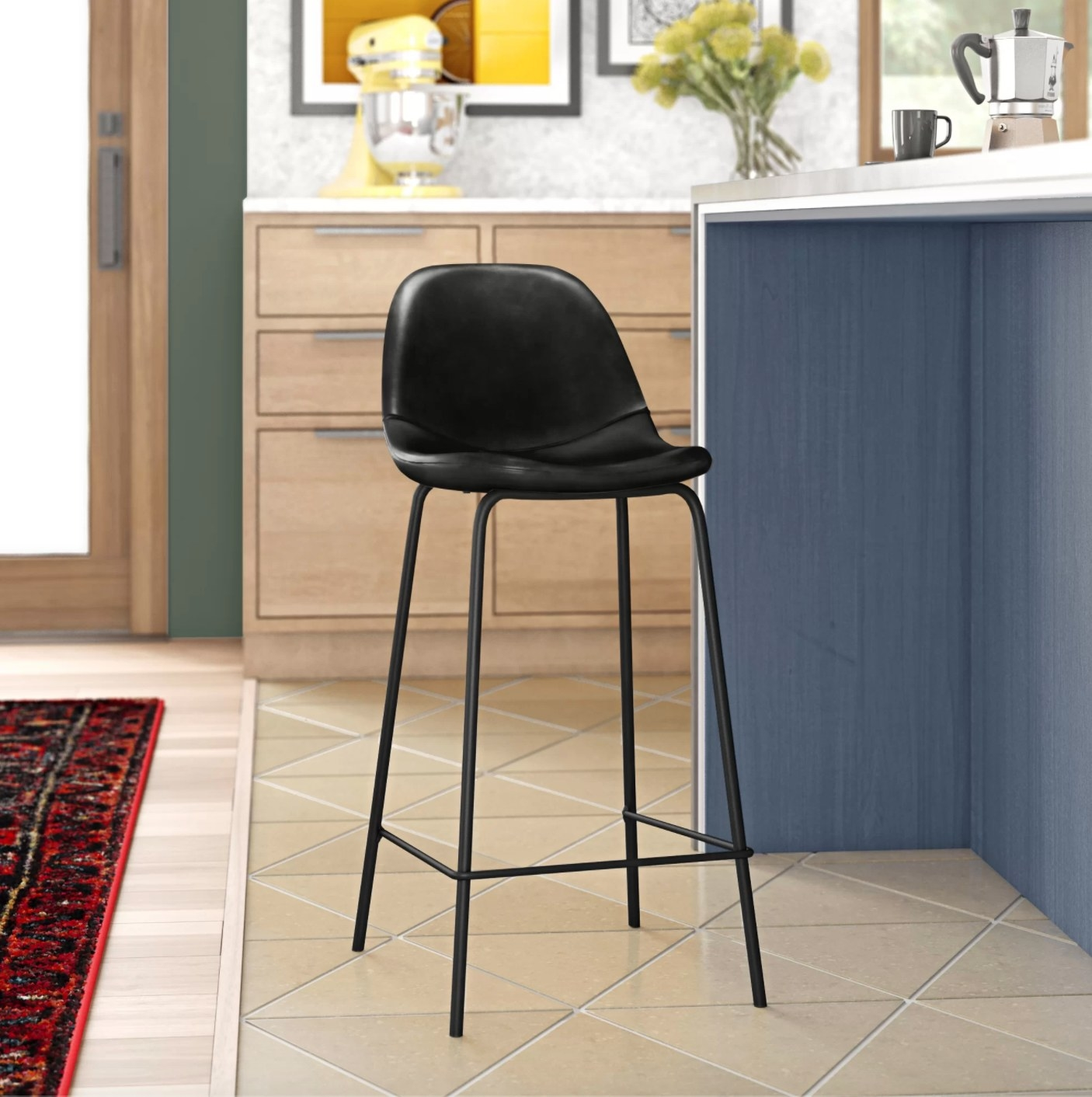 The set of two bar and counter stools in charcoal