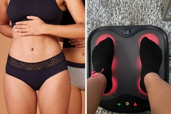 person in period underwear briefs, person using a foot massager