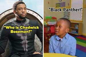 Chadwick Boseman side by side with a child recognizing him as Black Panther