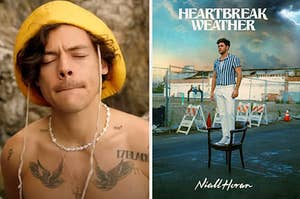 A shirtless harry styles in a yellow bucket hat on the left and niall horan's album heartbreak weather on the right