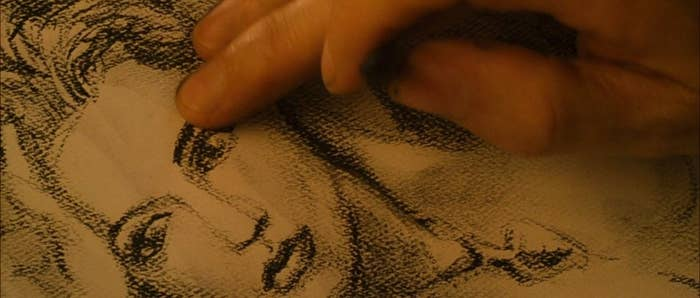 Jack's hand sketching Rose in the movie, but in real life it was James Cameron's