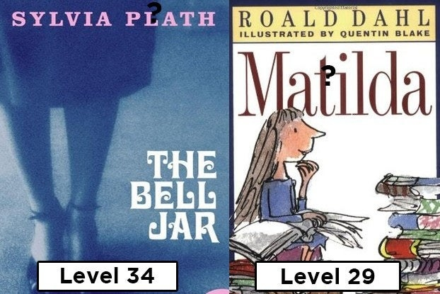 """""""The Bell Jar"""" with the words """"Level 34"""" and """"Matilda"""" with the words """"level 29"""""""