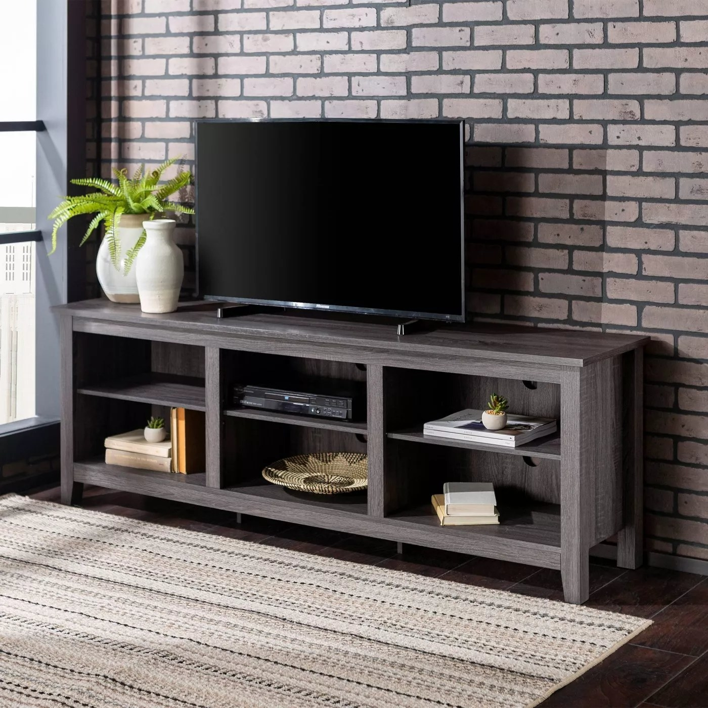 The TV stand in charcoal