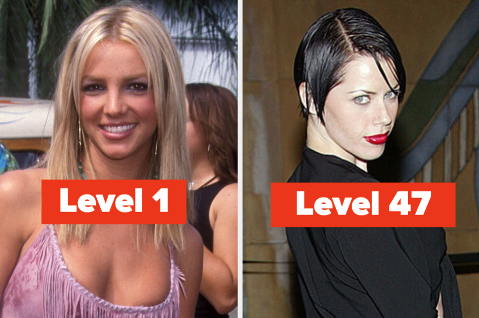 """Britney Spears with the words """"Level 1"""" and Fairuza Balk with the words """"Level 47"""""""