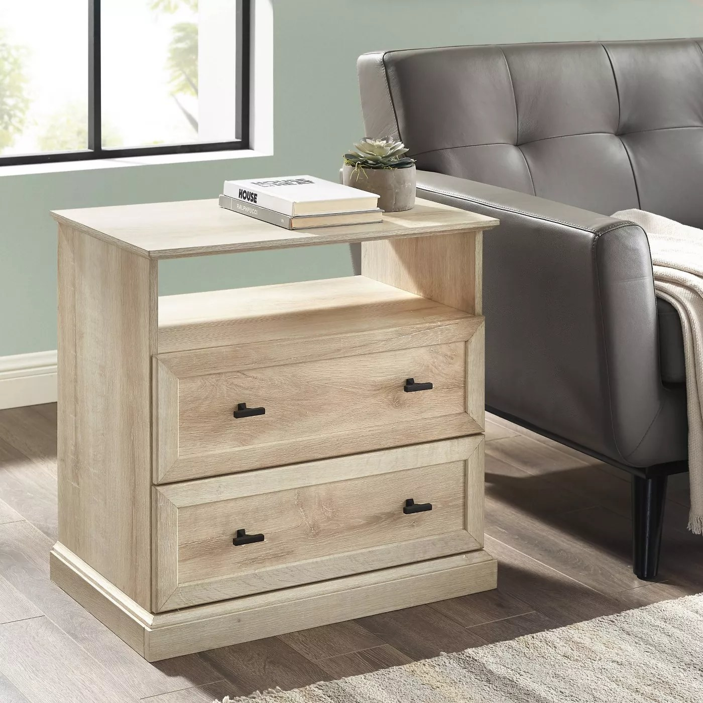 The nightstand in white oak
