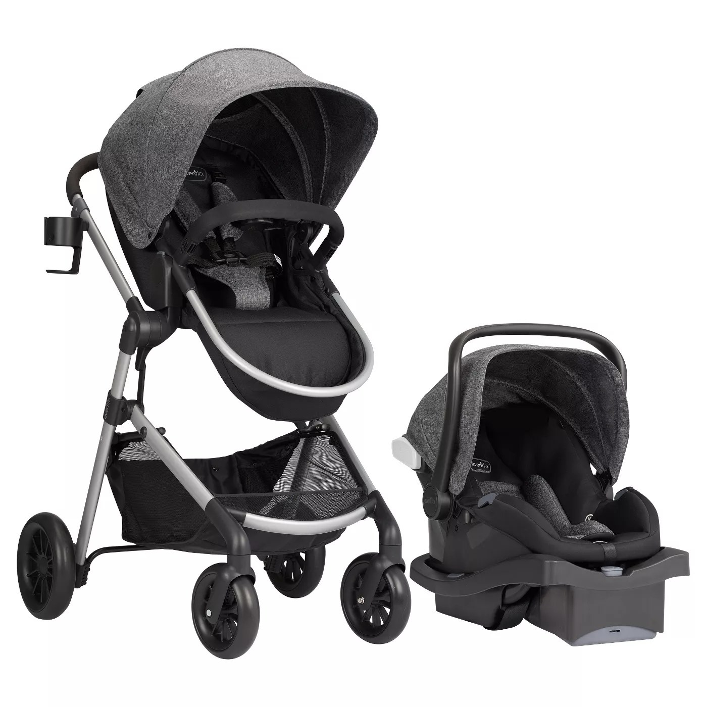 The travel system as a stroller and a car seat