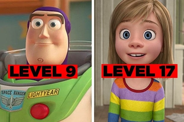 """Buzz Lightyear from """"Toy Story"""" with the words """"Level 9"""" and Riley from """"Inside Out"""" with the words """"Level 17"""""""